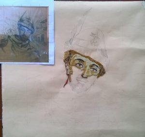 Boves. Ritratto di Ignazio Vian su bozzetto originale (datato 1943) della M.a Filippi